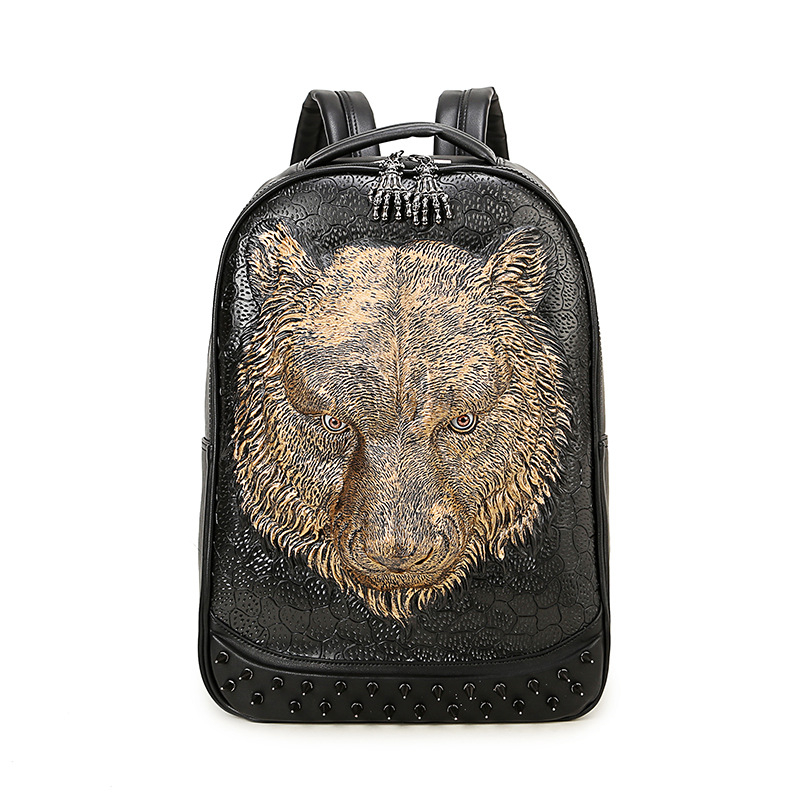 Stylish 3D Leather Backpacks Vintage Cool Shoulder Bags Men Women PU Leather Animal Punk Rivet Laptop School Bags 2017 Hot Sale hot sale geometric rivet design wide faux leather bracelet for men and women