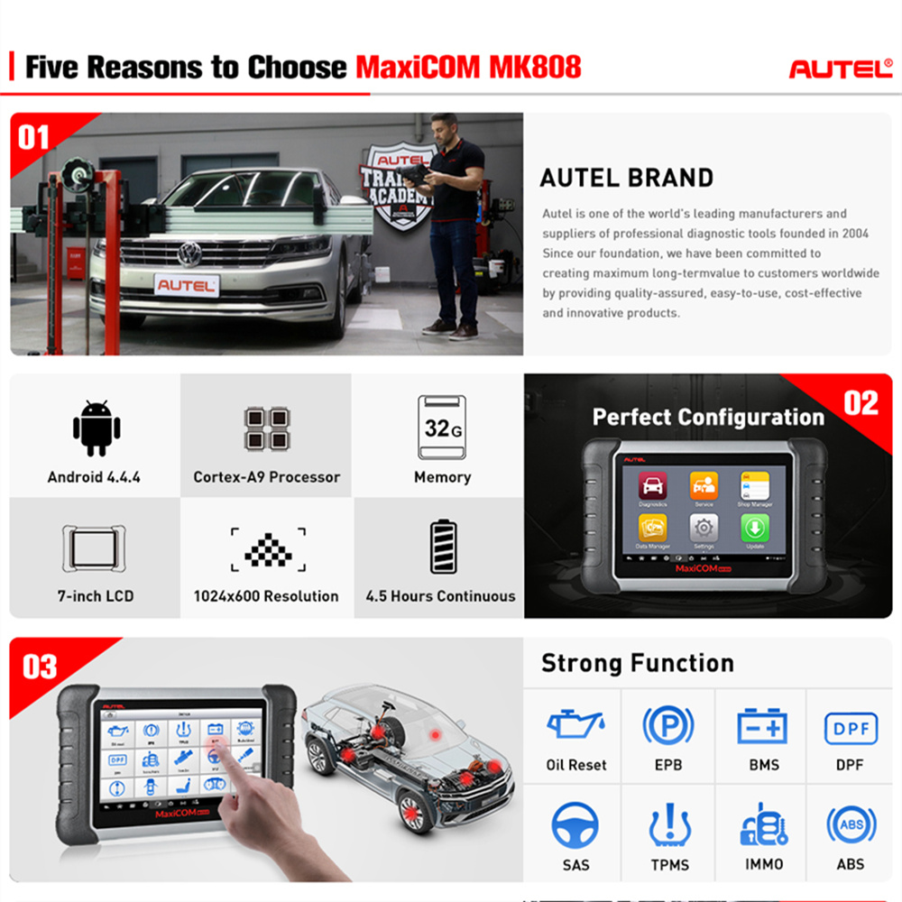 Image 2 - Autel MaxiCOM MK808 OBD2 Scanner Diagnostic Scan Tool All System Diagnosis Service Functions Code Reader MD802+MaxiCheck Pro