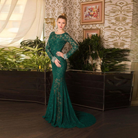 Holiday Party Slim Prom Dress Beaded Wristband Semi Backless Bold Cut Illusion Lace Mermaid Long Sleeve