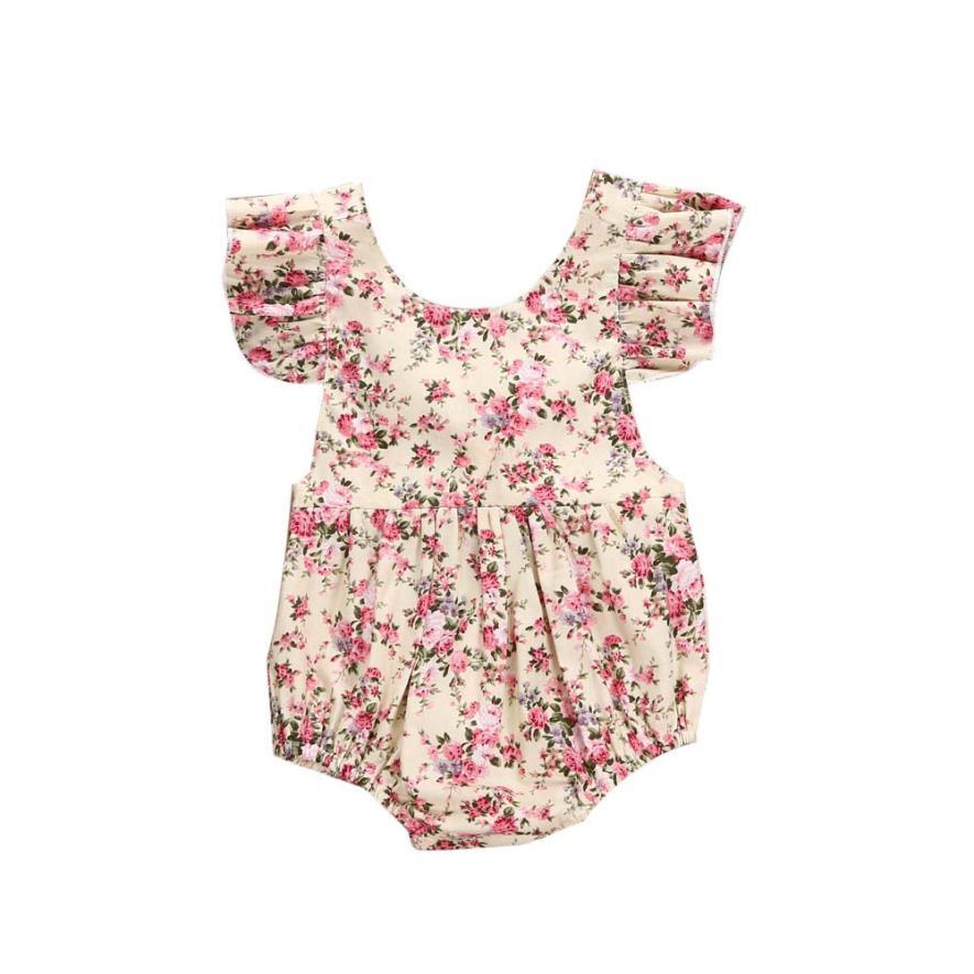 Лето 2017 г. для маленьких девочек Комбинезон с цветочным принтом для девочек детский комбинезон для новорожденных Одежда для детей; малышей; ...