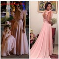Pink Chiffon Mother and Daughter Prom Dress Applique Sheer Beaded Long Party Evening Dresses Gowns 2016 Womens Vestidos De Festa
