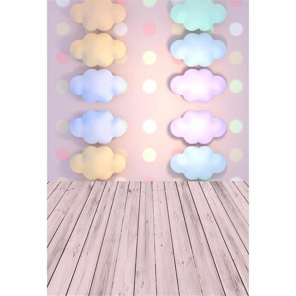 Fondos para fotografía de niños con nubes de colores Fondo impreso para fotografía lunares recién nacidos utilería para sesión de fotos fondo, suelo de madera