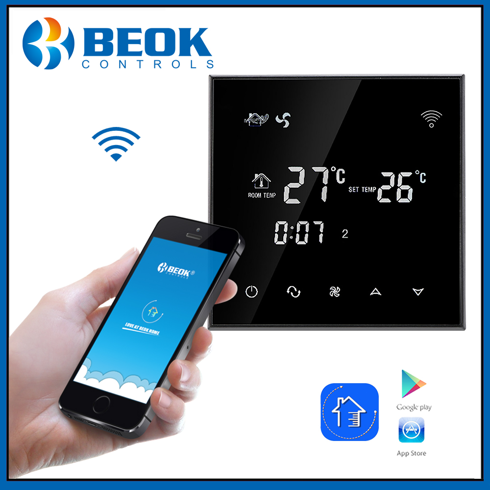 Beok TGT70WIFI AC Black Touch Screen Fan Coil Thermostat with Heating cooling ventilation Modes