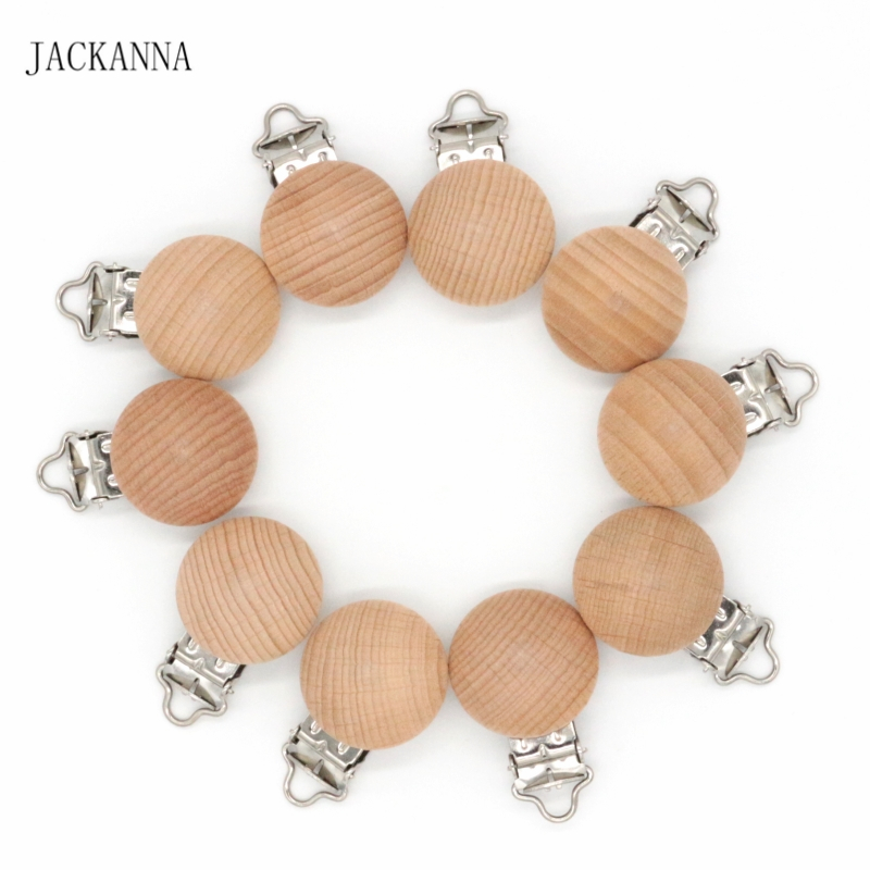 5PCS Beech Wood Baby Pacifier Clips Wooden Soother Holder Dummy Clips Pacifier Chain Accessory Eco-friendly Baby Pacifier Holder