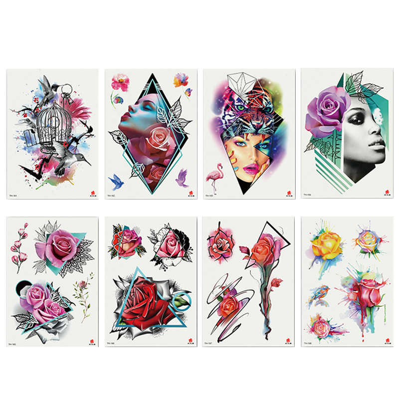 1PC Creative Tattoo Bird Cage Face Rose Waterproof Temporary Tattoo Stickers For Men Women Full Body Art Arm Semi-arm Tattoo