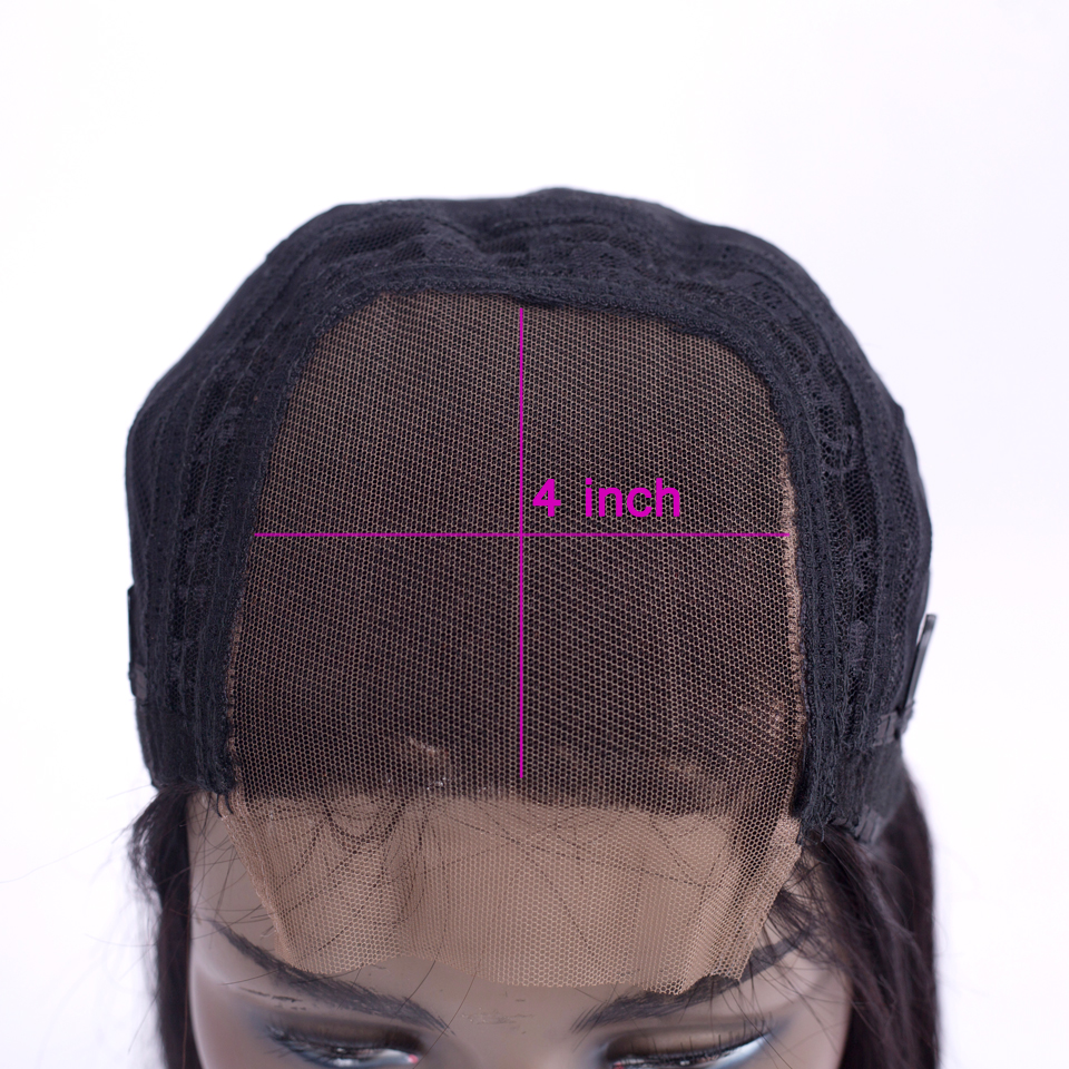 straight lace front wig brazilian lace front wigs non remy 4×4 lace front human hair wigs for black women Natural color lanqi