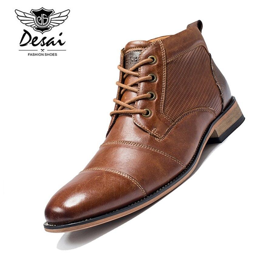 DESAI Winter Warme Laarzen Mannen Hoge Schoenen Echt Lederen Laarzen Toevallige Oxfords Schoenen Hoge Laarzen Mannelijke Plus Size US 7  13-in Eenvoudige Laarzen van Schoenen op  Groep 1
