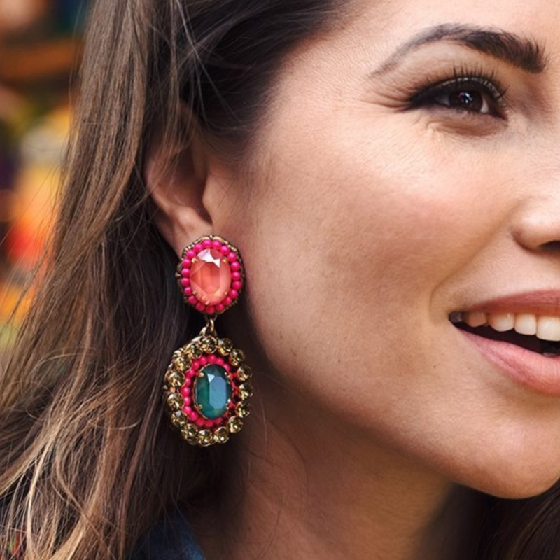 AOTEMAN 2019 New Arrival Ethnic Crystal Dangle Drop Earrings Wedding Jewelry Boho Vintage Crystal Earrings For Women Oorbellen