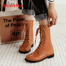 ENMAYLA 2019 Women Boots Square heel Round Toe  PU Lace-Up Work Safety fashion mid-calf boots Short Plush women shoes size 34-43