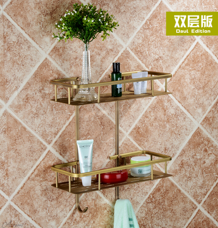 Bronze total solid brass Wall Mounted Bathroom double lever Corner Shelf Bathroom Shampoo Shelf Bath Shower Shelf Soap Holder