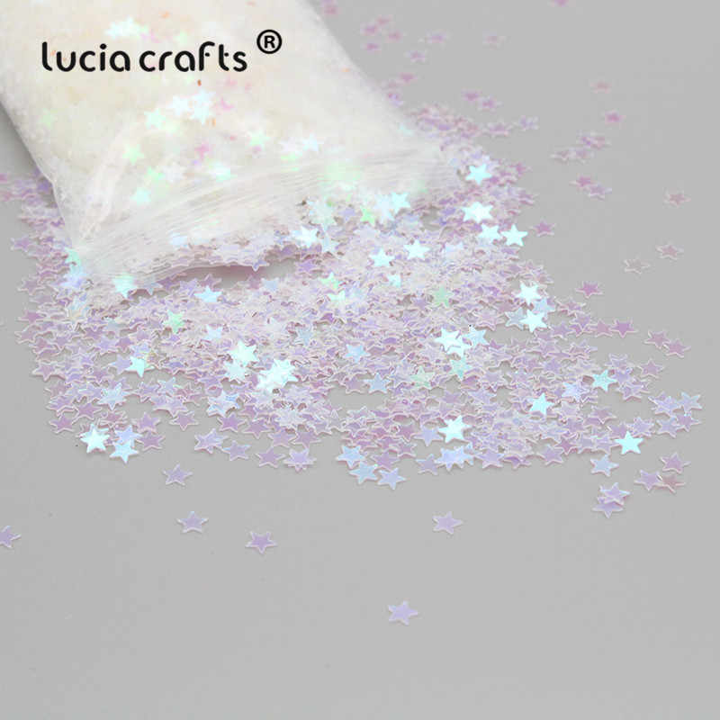 Lucia crafts 4mm 20g White Star Flake Rainbow Cup Loose Sequins DIY Scrapbooking Wedding Nail Art Decoration D0107