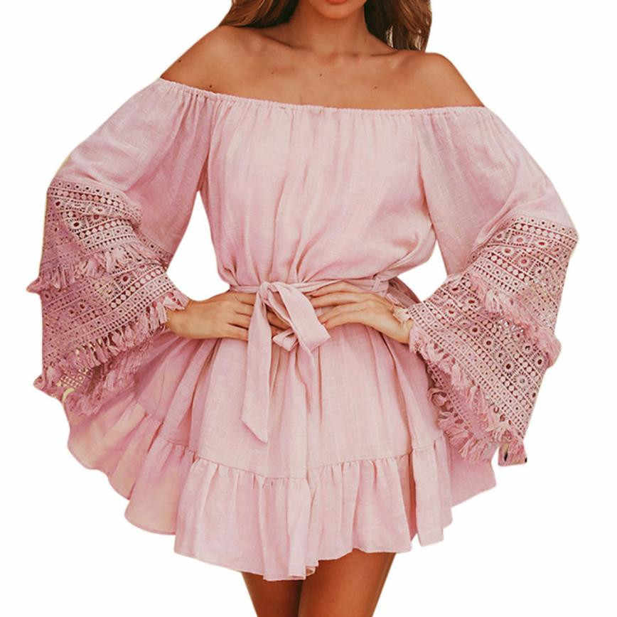Vestidos 2019 Women Fashion Off Shoulder Pink Dress Summer Ladies Long  Sleeve Lace Casual Loose Mini 458edc7a5e22