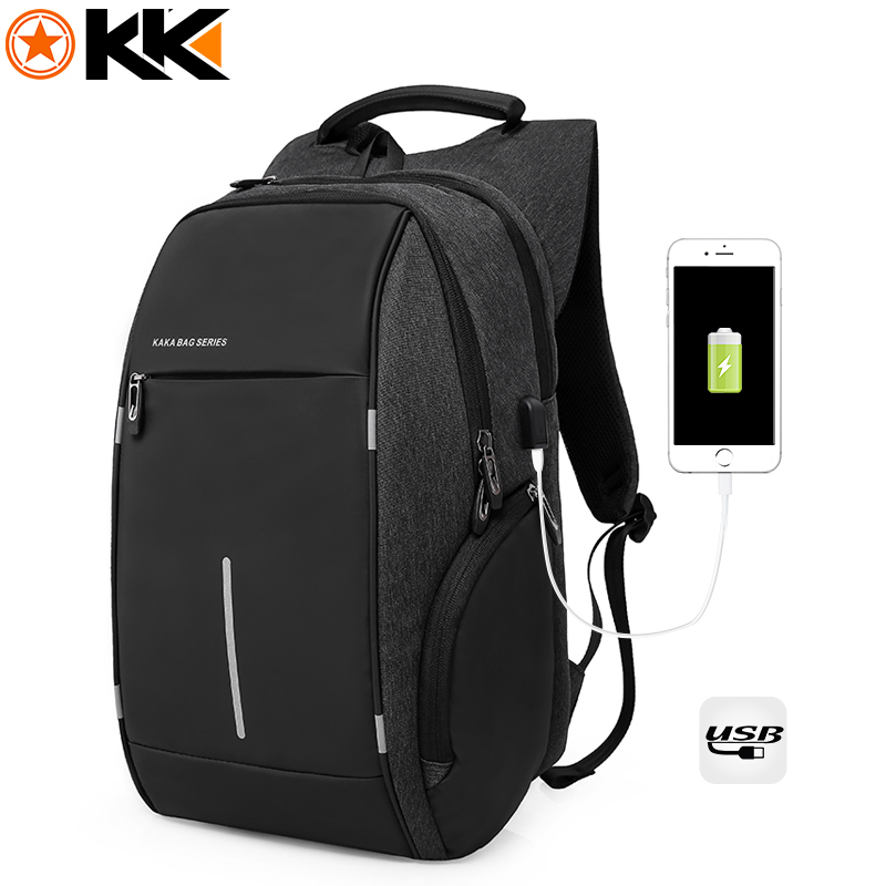 KAKA Rugzak Brand Design USB Charging Men Backpack 15 inch Laptop Bag Backpack Male Waterproof Schoolbag Backpack Mochila