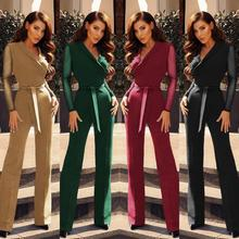 2019 Autumn Women Fashion Elegant Long Sleeve Workwear Formal Party Romper Lace Hollow out Sleeve Knot Side Wide Leg Jumpsuit