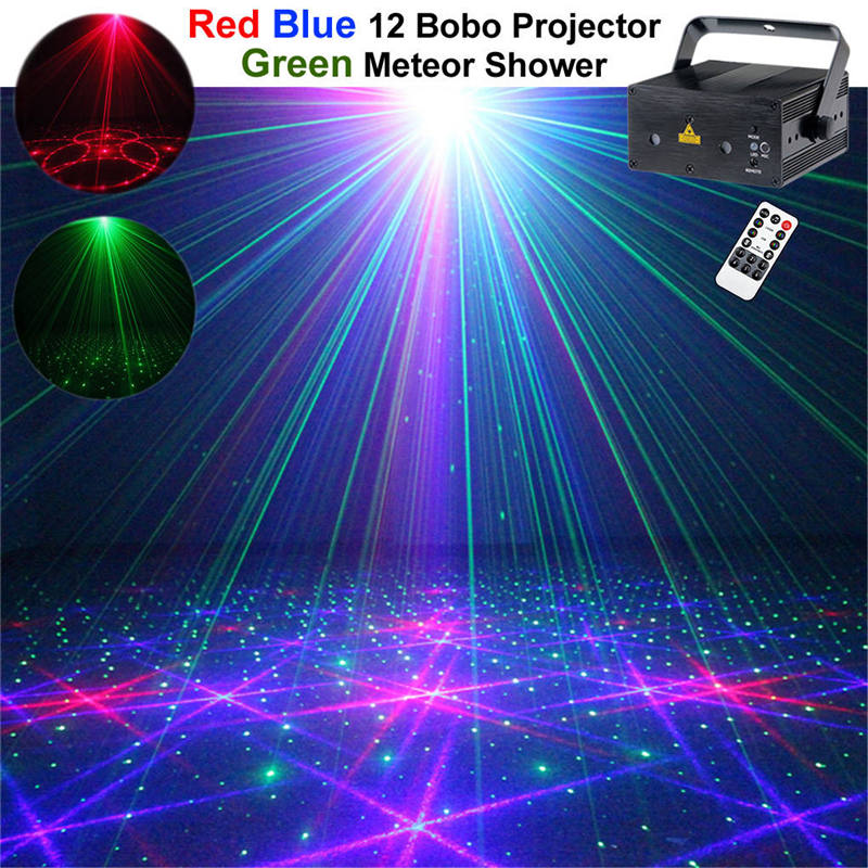 AUCD Mini Red Green Blue Laser Light DJ Projector Blue LED Mixing Effect KTV Home Party Show Holiday Stage Lighting Z12G-RGB300 rg mini 3 lens 24 patterns led laser projector stage lighting effect 3w blue for dj disco party club laser
