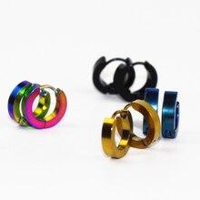 E0213 Punk Style Stainless Steel Hoop Earrings For Men Women High Quality Black Blue Loop Earrings Gift Wholesale Drop Shipping