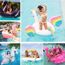 190 cm/250 cm 24 estilo gigante flamingo cisne unicórnio inflável piscina flutuador passeio-no anel de natação colchão de ar água brinquedos de verão boia