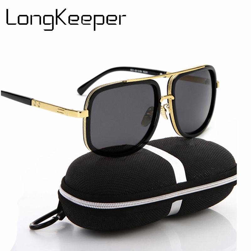 edd63ccb037 Oversized Square Pilot Sunglasses for Men Women Pilot Shades Gold Frame  Retro Sun Glasses Case lunette de soleil femme homme