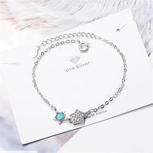 Женский браслет из серебра 925 пробы с кристаллами