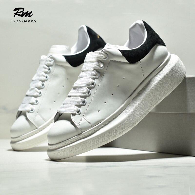 2019 marque de mode de haute qualité en cuir véritable blanc chaussures AMCQ surdimensionné semelle baskets hors-service nécessité EU42