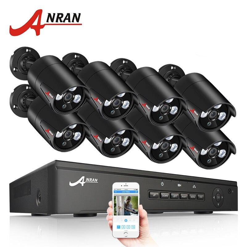 ANRAN 8CH 48 V POE NVR Kit Onvif CCTV Sistema de Câmera 1080 P 2.0MP HD POE IP Câmera À Prova D' Água À Noite sistema de Câmera de Segurança Da visão