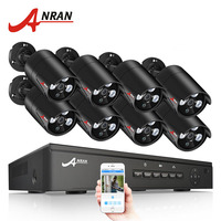 ANRAN Plug And Play 8CH CCTV System 48V POE NVR Kit Onvif P2P 1080P 2.0MP HD POE Waterproof Night Vision Security Camera System