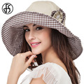 FS Large Brim Foldable Summer Hats For Women Cotton Beach Sun Hat Black Khaki Flower UV Protect Visor Caps Sonnenhut
