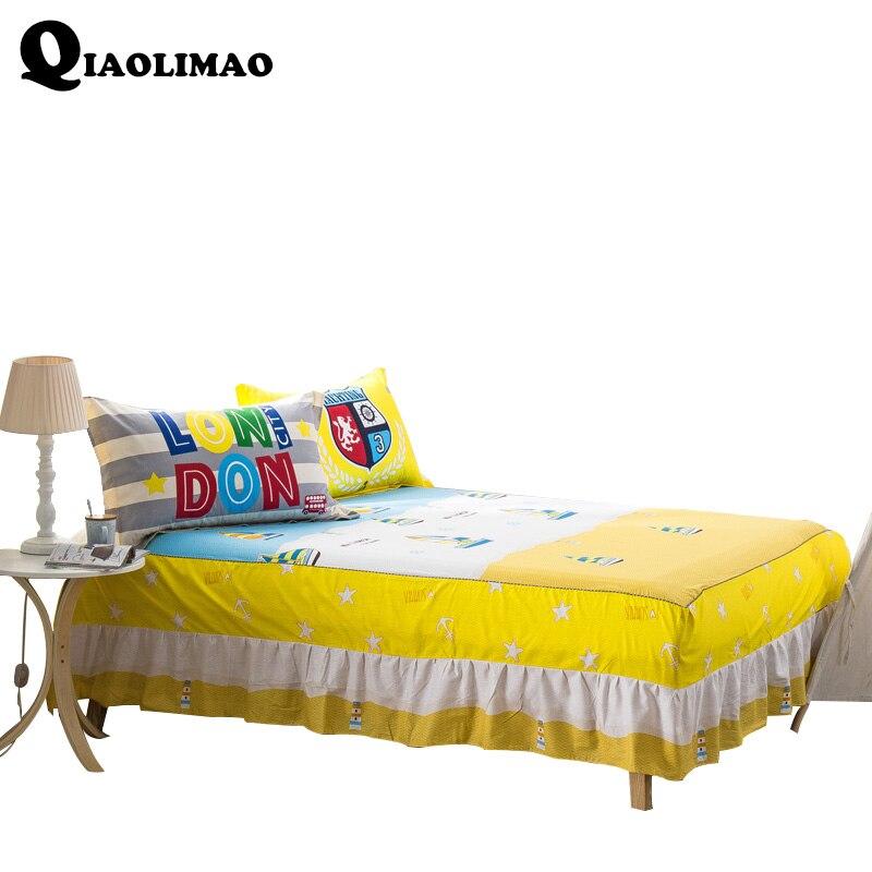 Cartoon Cotton Bed Skirt Mattress Cover Petticoat Twin Full Queen Character Bed Skirts Dust Ruffle Bedspread 150*200cm 180*200cm