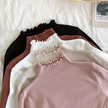 Gola alta de malha feminina casual pulôver feminino outono inverno topos blusas coreano moda 2021 camisola feminina pulôver pull femme