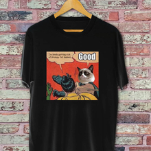 6607b8e91 Grumpy cat parody of super hero Black & White T-shirt funny 100% Cotton