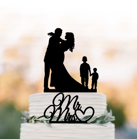 Family Wedding Cake topper with two boy, silhouette ...