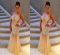 Strass brilhante Vestido de Baile com Ver Através de Tule Saia de Cintura Oco Colher Longo Sereia Backless Luxo Cristal Dresss Prom