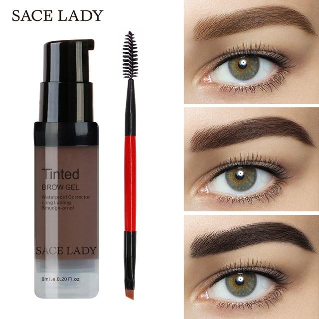 SACE ליידי גבות ג 'ל גוון 6 צבעים איפור משחת מברשת ערכת חום חינה עיניים גבות קרם איפור צבע סט enhancer שעווה קוסמטי
