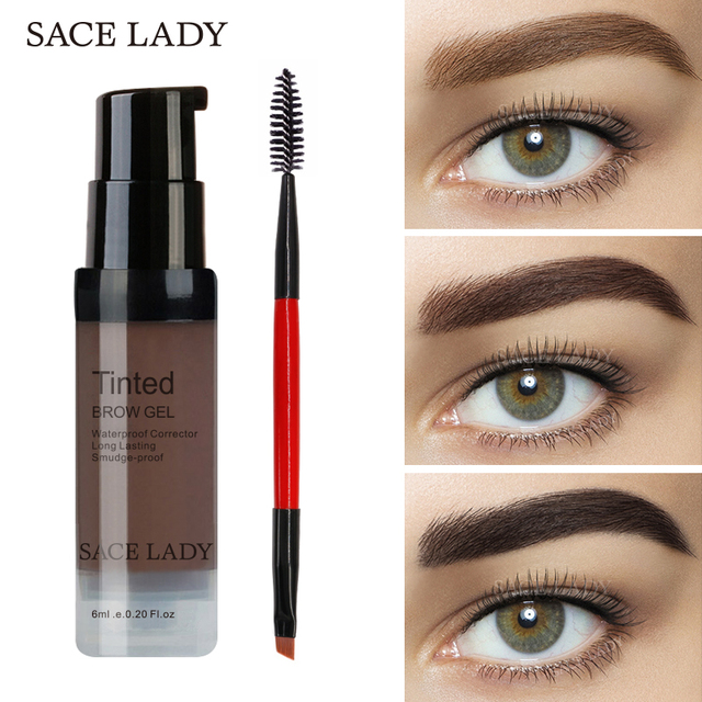 Sace Lady Eyebrow Gel Tint 6 Colors Makeup Pomade Brush Kit Brown