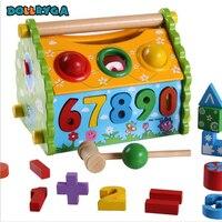DIY Wooden Blocks Early Childhood Educational Digital Color Blocks Wooden Stitching Rainbow House Toy DOLLRYGA Free Shipping