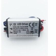 Fonte de alimentação à prova dágua, fonte de alimentação ac 110 220v led 2 3x3w 10w 900ma para 10w de alta potência, 1 peça luz do chip do led