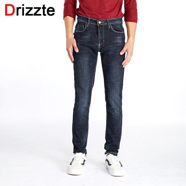 99272e81059e Drizzte Marque Hommes Stretch Denim Mince Jeans Noir Bleu De Mode À La Mode  pantalon Pantalon