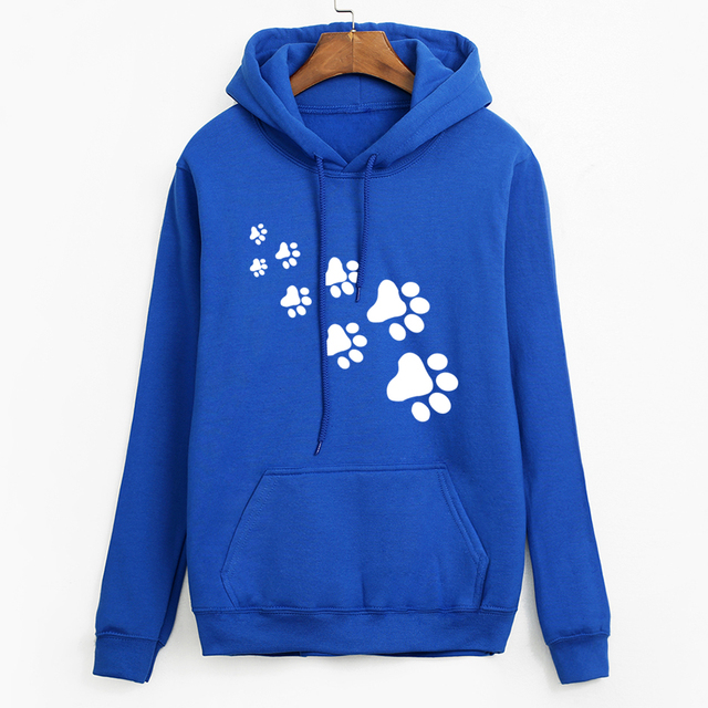 Casual fleece autumn winter sweatshirt pullovers 2018 kawaii cat paws print hoodies for Women black pink brand tracksuits femme