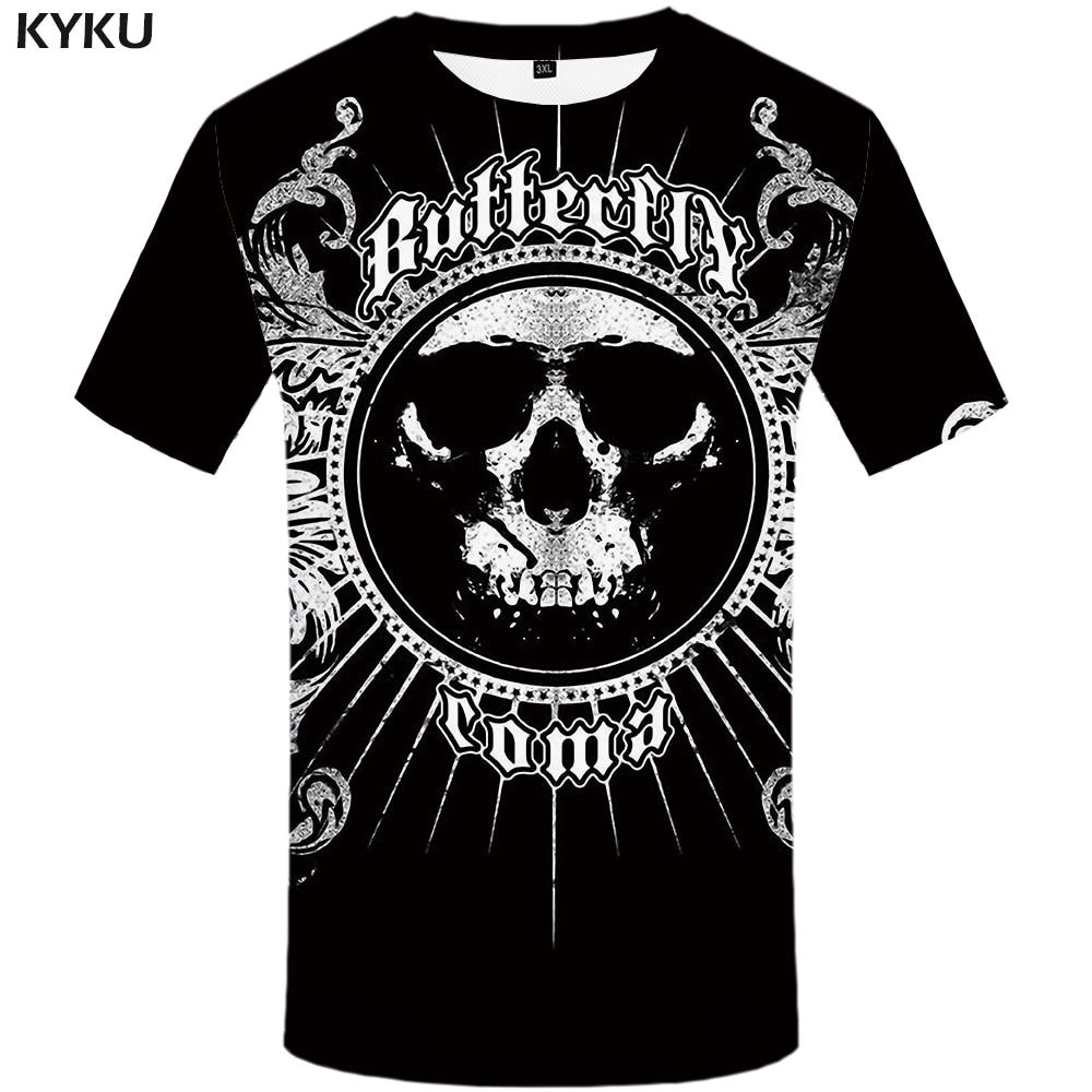 KYKU Sulku T Shirt Men Black Punk Rock T-shirt Anime Clothes Graphics 3d Printed Tshirt Gothic Fashion Mens Clothing Summer Tops