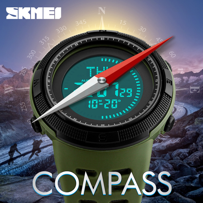 SKMEI 1254 Brand Sports Electronic Watch Men's Compass Digital Watches Waterproof World Time Military Wristwatches Montre Homme