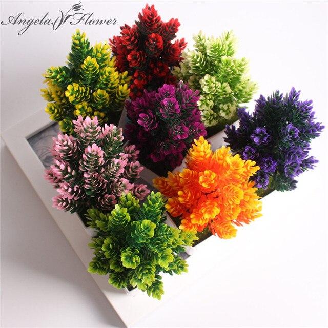 1 Set vaso + fiore artificiale in vaso piante piccolo bonsai di plastica finto f