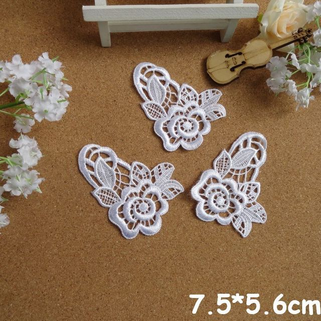 New wholesale 7.6*5.6 White Flower Lace Appliques For Decorations, Garment accessories,DIY appliques