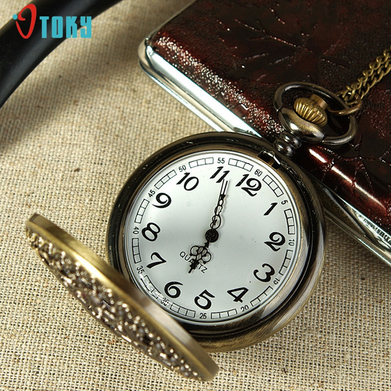 Excellent Quality Antique Vintage Hollow Bronze Gear Hollow Quartz Pocket Watch Necklace Pendant Clock Chain Mens Women