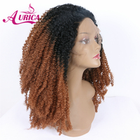 Aurica Ombre Brown Heat Safe Synthetic Hair Lace Front Wig With Black Roots For American Women