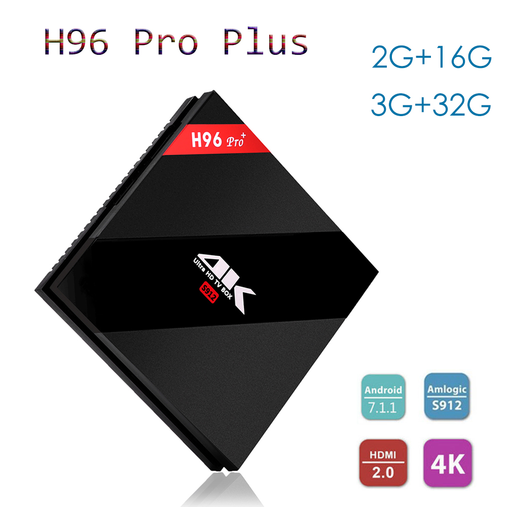 New H96 Pro Plus TV Box Android 7.1 Amlogic S912 2G/16G 3G/32G With 2.4G/5.8G WiFi 4K HD BT4.1 H.265 Support IPTV Set Top Box