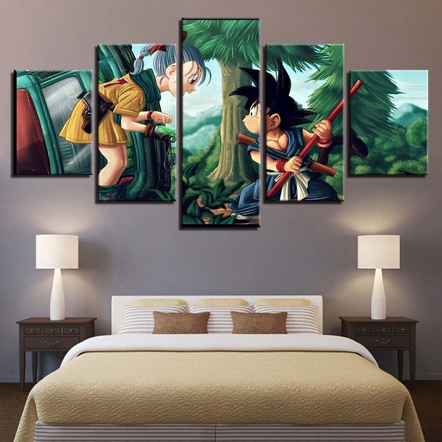 Dragon Ball HD Printed 5 Panel Frame Canvas Painting