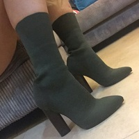 2017 Fashion Women Shoes Stretch Fabric Women Boots Sock Jersey Ankle Boots Black Green Apricot High