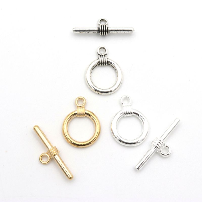 Mixed 10 Set Antique Silver Smooth Circle OT Clasp For Jewelry Making Bracelet Necklace Diy Accessories Needlework Wholesale