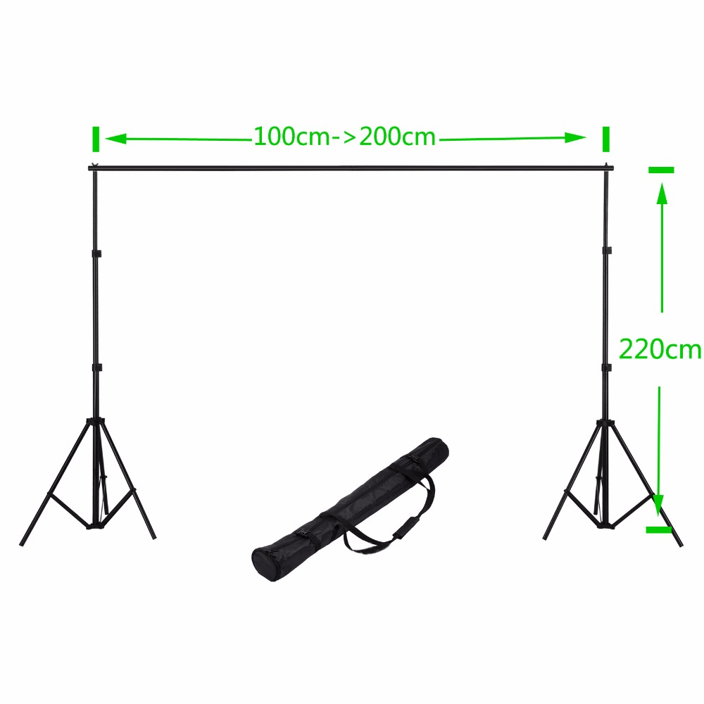 2M Adjustable Muslin Background Backdrop Support System Stand Kit photography Holder light stand + cross bar + carry bag lightdow 2x3m 6 6ftx9 8ft adjustable backdrop stand crossbar kit set photography background support system for muslins backdrops