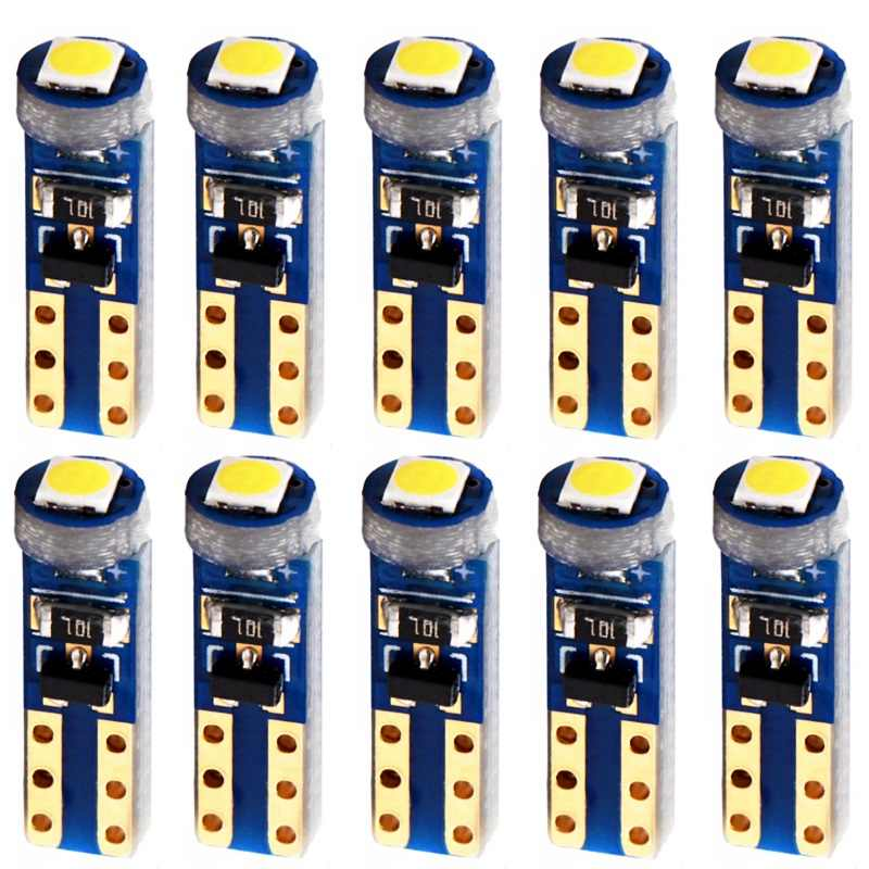 10pcs W3W W1.2W T5 W2X2.6d 3030 LED CANBUS Car Board Instrument Panel Lamp Auto Dashboard Warming Indicator Wedge Light Bulb
